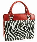 Safari Collection Zebra Print Vinyl Large Red Bible Cover: Christian Art Gifts